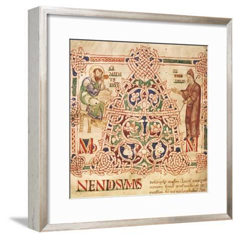 Illuminated Initial Capital Letter from a Gospels from San Benedetto Po, 1254, Italy--Framed Art Print