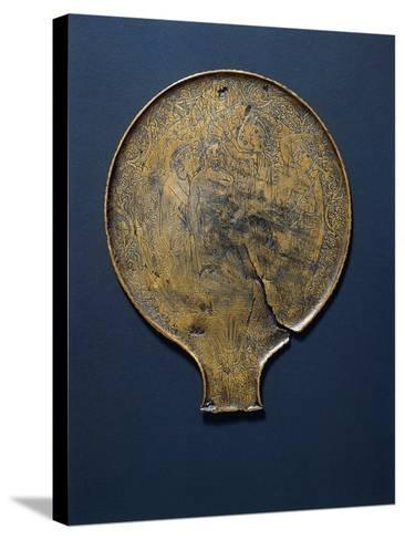 Mirror with Engraving Depicting Minerva Who Comes from the Head of Jupiter.--Stretched Canvas Print