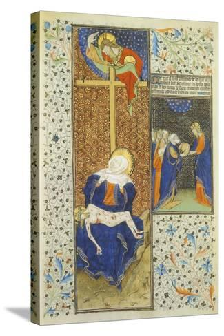 Pieta, Miniature from the Master of Hours by Rohan, France 15th Century--Stretched Canvas Print