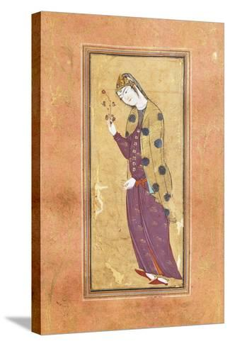 Woman with Sprig of Flowers, Arabic Miniature, Safavid Art, 16th Century--Stretched Canvas Print