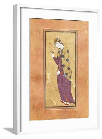 Woman with Sprig of Flowers, Arabic Miniature, Safavid Art, 16th Century--Framed Art Print