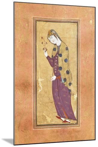 Woman with Sprig of Flowers, Arabic Miniature, Safavid Art, 16th Century--Mounted Giclee Print