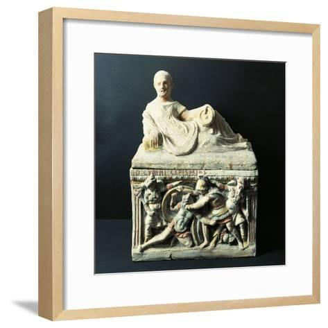 Etruscan Civilization, Urn Depicting Duel Between Eteocles and Polynices--Framed Art Print
