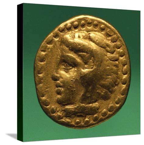 Gold Quarter Stater of Philip II with Male Profile, Recto, Greek Coins BC--Stretched Canvas Print
