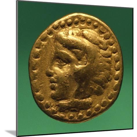 Gold Quarter Stater of Philip II with Male Profile, Recto, Greek Coins BC--Mounted Giclee Print