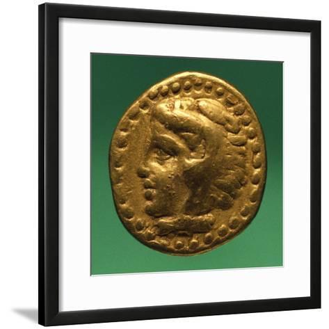Gold Quarter Stater of Philip II with Male Profile, Recto, Greek Coins BC--Framed Art Print