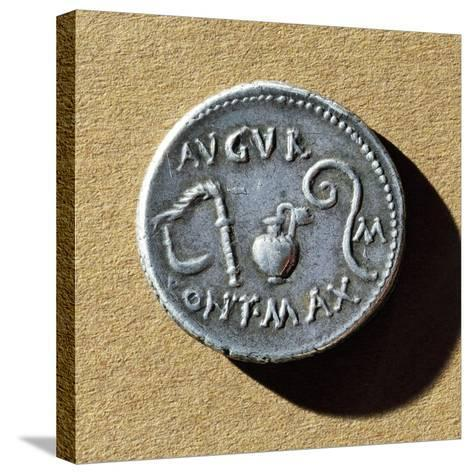 Coin with Caesar's Pontifex Maximus Insignia, Roman Coins BC--Stretched Canvas Print