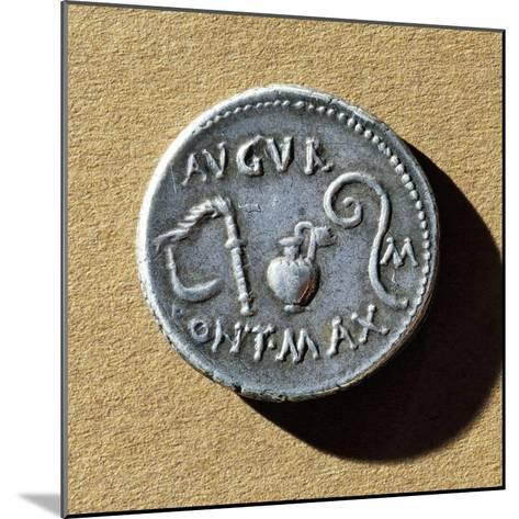 Coin with Caesar's Pontifex Maximus Insignia, Roman Coins BC--Mounted Giclee Print
