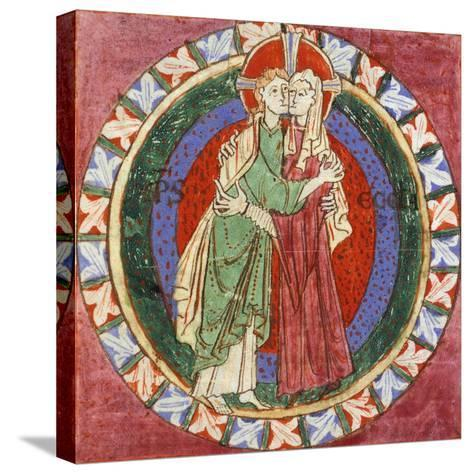 Initial Capital Letter 'O' Depicting Christ Embracing His Church, Miniature from French Gospel--Stretched Canvas Print
