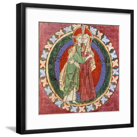Initial Capital Letter 'O' Depicting Christ Embracing His Church, Miniature from French Gospel--Framed Art Print