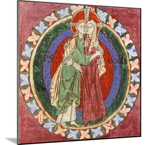 Initial Capital Letter 'O' Depicting Christ Embracing His Church, Miniature from French Gospel--Mounted Giclee Print