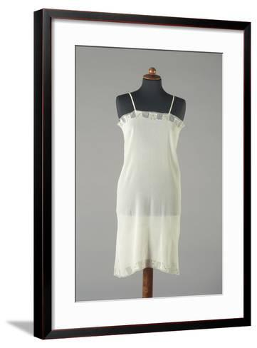 Silk Crepe Underdress with Small Embroidered Colored Flowers, 1920s-1930s--Framed Art Print