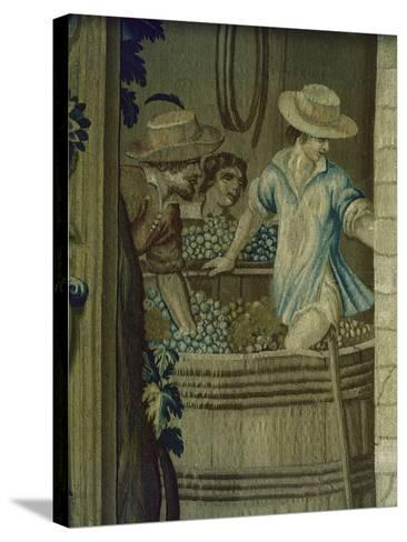 Autumn Tapestry Woven, 16th Century, Detail of Crushing Grapes--Stretched Canvas Print