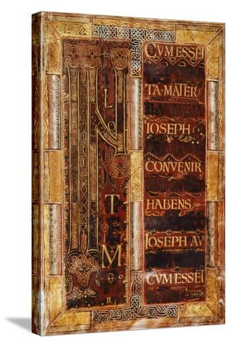 Illuminated Initial Capital Letter from the Godescalco Gospels, Germany 8th Century--Stretched Canvas Print