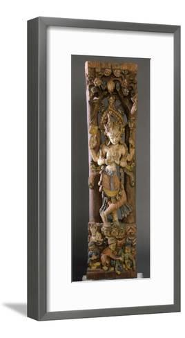 Decorative Bracket from Roof of Temple, Colored Wood, Nepal--Framed Art Print