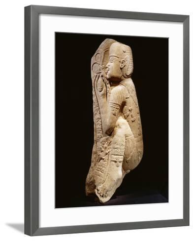 Quartzite Relief Representing a Nubian Prince Picking Dates from a Palm Tree, Circa 540 B.C.--Framed Art Print