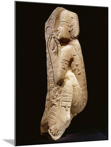 Quartzite Relief Representing a Nubian Prince Picking Dates from a Palm Tree, Circa 540 B.C.--Mounted Giclee Print