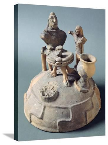 Lid of Fictile Cinerary Urn with a Banquet Scene. Etruscan Civilization.--Stretched Canvas Print