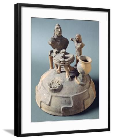 Lid of Fictile Cinerary Urn with a Banquet Scene. Etruscan Civilization.--Framed Art Print
