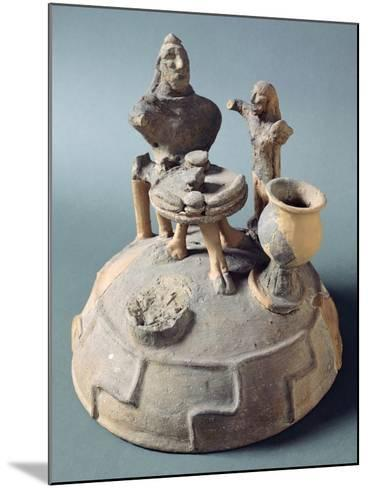 Lid of Fictile Cinerary Urn with a Banquet Scene. Etruscan Civilization.--Mounted Giclee Print