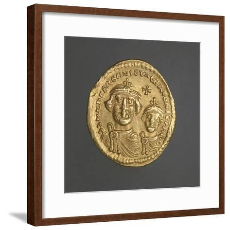 Solidus of Heraclius Bearing Image of Emperor and His Son, Recto, Byzantine Coins, 7th Century--Framed Art Print