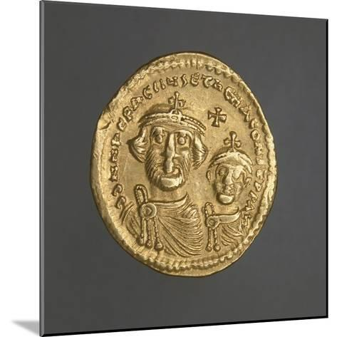Solidus of Heraclius Bearing Image of Emperor and His Son, Recto, Byzantine Coins, 7th Century--Mounted Giclee Print