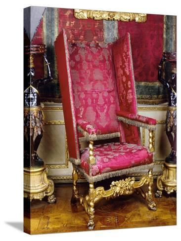 Charles II Style Carved and Gilt Wood Armchair known as Sleeping Chair with Adjustable Back, 1679--Stretched Canvas Print