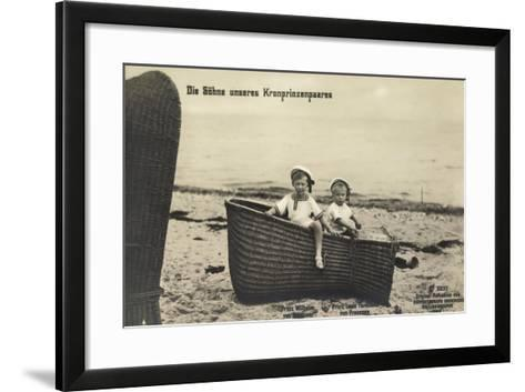 Söhne Unseres Kronprinzenpaares Im Strandkorb--Framed Art Print