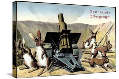 Künstler Frohe Ostern, Osterhasen Feuern Kanone--Stretched Canvas Print