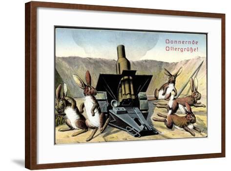 Künstler Frohe Ostern, Osterhasen Feuern Kanone--Framed Art Print