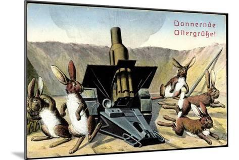 Künstler Frohe Ostern, Osterhasen Feuern Kanone--Mounted Giclee Print
