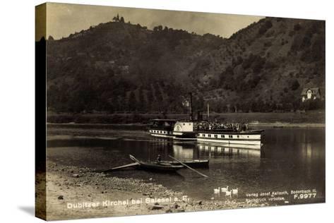 Dubice Region Aussig, Dampfer Schandau, Kirchlein--Stretched Canvas Print