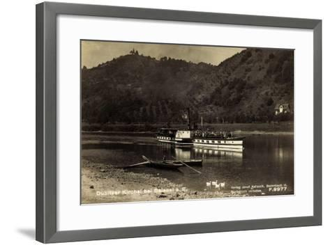 Dubice Region Aussig, Dampfer Schandau, Kirchlein--Framed Art Print