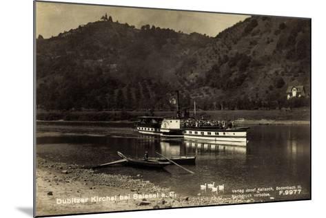 Dubice Region Aussig, Dampfer Schandau, Kirchlein--Mounted Giclee Print