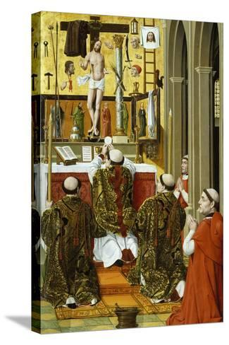 Mass of St Gregory, Detail from Convent of St Clare Altarpiece in Valencia--Stretched Canvas Print