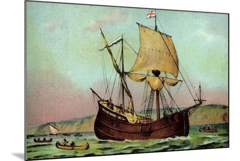 K?nstler Sailship Half Moon,New York Harbour,Indians--Mounted Giclee Print