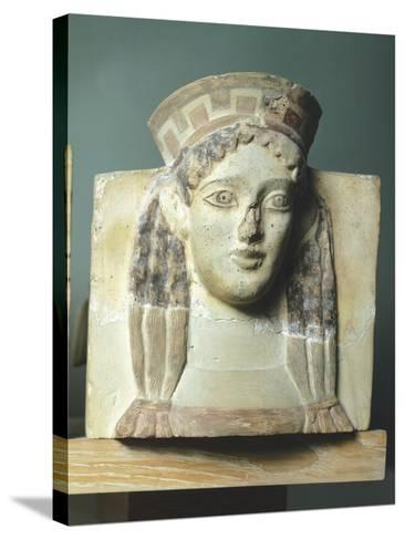 Female Head, Antefix in Terracotta from Temple of Apollo in Thermos, Greece--Stretched Canvas Print