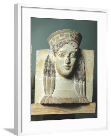 Female Head, Antefix in Terracotta from Temple of Apollo in Thermos, Greece--Framed Art Print