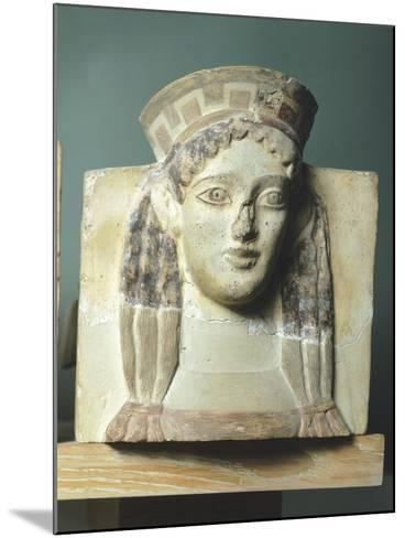 Female Head, Antefix in Terracotta from Temple of Apollo in Thermos, Greece--Mounted Giclee Print