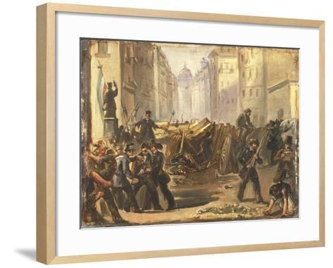 First War of Independence - 'Five Days of Milan'. Barricades at Porta Romana, March 1848--Framed Art Print