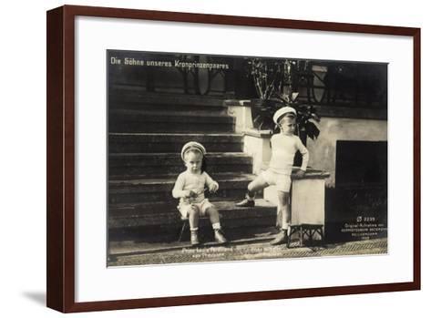 Söhne Unseres Kronprinzenpaares in Uniformen--Framed Art Print