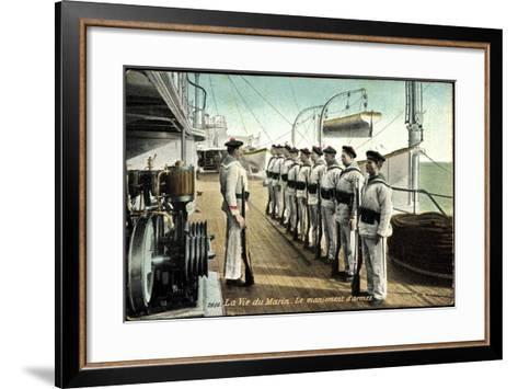 Marineleben, Bewaffnete Soldaten Auf Dem Schiff--Framed Art Print