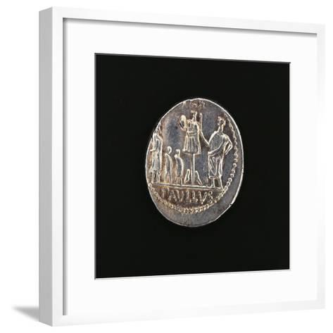 Denarius Issued in 71 BC to Commemorate Aemilius Paullus' Victory at Battle of Pydna in 168 BC--Framed Art Print