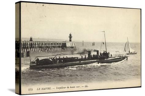 Franz?sisches Kriegsschiff Im Hafen, Segelboot--Stretched Canvas Print