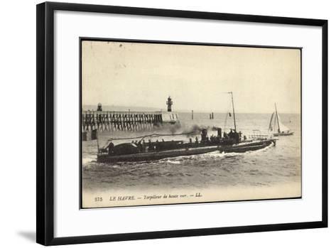 Franz?sisches Kriegsschiff Im Hafen, Segelboot--Framed Art Print