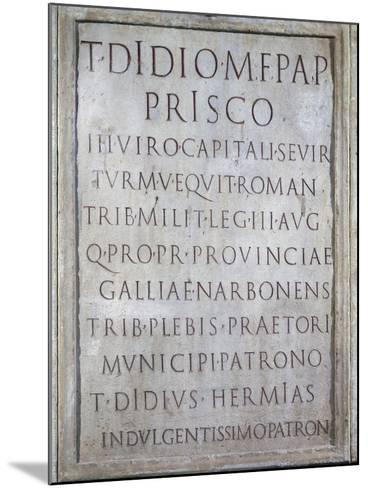 Tombstone of Tito Didio Prisco--Mounted Giclee Print
