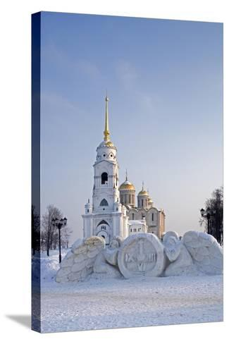 Russia, Golden Ring, Vladimir, Belltower and Assumption Cathedral with Statues--Stretched Canvas Print