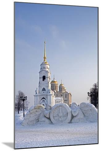 Russia, Golden Ring, Vladimir, Belltower and Assumption Cathedral with Statues--Mounted Giclee Print