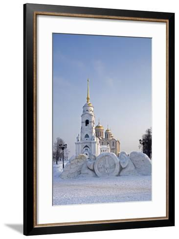 Russia, Golden Ring, Vladimir, Belltower and Assumption Cathedral with Statues--Framed Art Print