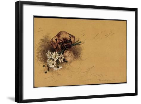 K?nstler Litho Kleiner Hundewelpe Mit Blumenstrau?--Framed Art Print